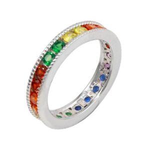Sterlingsilber Mehrfarbig Regenbogen Cz Steine Ewigkeit Ehering