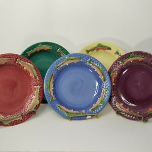LOT 5 Vtg FIORIWARE Jardinware RAINBOW TROUT Plates RED PURPLE BLUE GREEN YELLOW