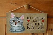 Türschild Tierschild Schild Tafel Holzschild Deko Bild ♥ Haus wacht Katze NEU