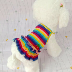 Summer Cat Dog's Clothes For Small Dog Clothes Striped  Princess Dress For Pet