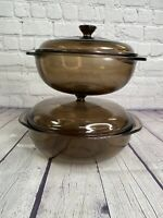 Pyrex Amber Glass 023-N 024 Round Baking Casserole Dish with Lid