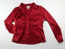 Talbots Womens Pure Silk Long Sleeve Button Down Burgundy Red Blouse Size 6