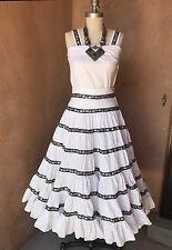 Vtg 50s 3-pc White Patio Fiesta Squaw Dress Full Circle Shawl Boho Wedding XS