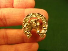 BEAUTIFUL VTG HANDCRAFTED MENS STERLING SILVER (NUGGET) HORSE HEAD WESTERN RING