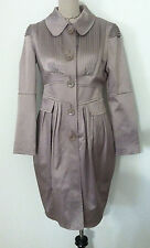 Christopher Kane women coat knee high button up overcoat fashion pleat size S 40
