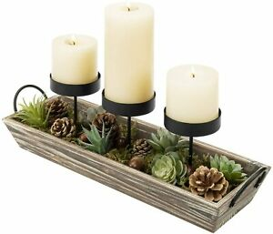 MyGift 3 Pillar Metal Candle Holders with Torched Wood Tray and Faux Pine Cones