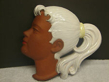 "HTF Vintage German Ceramic Bisque Wall Mask ""Heidi"" / Marzi & Remy West Germany"