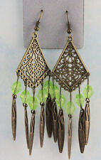 Antiqued Brass Kite Focal w/ Green Beads and Brass Drops Dangle Hook Earrings