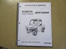 Kubota RTV1100 RTV 1100 Utility Vehicle owners & maintenance manual