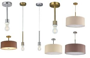Traditional Pendants Semi Flush Fabric Shades or 1 Light Chrome or Antique Brass