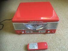 Red Classic Retro Vinyl Record Player • AM/FM Radio Trevi 1062E with remote