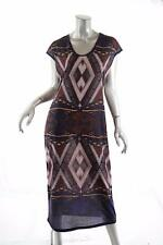 BARCELINO Pure Style Multi Rayon Knit 'Photographic' Cap Sleeve Dress - Sz L