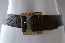 Hickok 38 Vintage 60s retro mens brown leather belt Hippy big buckle