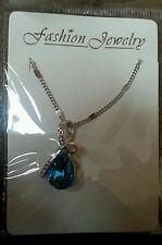 18K WHITE GOLD PLATE NECKLACE WITH SWAROVSKI CRYSTAL ELEMENTS BLUE BRAND NEW