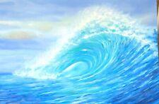 "Seascape, ""Big Wave"" beautiful oil painting, 36 x 24, original"