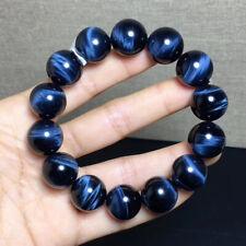 16.1mm Natural Blue Tiger Eye Gemstone Round Beads Bracelet AAAA