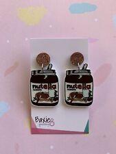 Nutella Style Dangle Earrings, Surgical Steel Stud, 13mm Bronze Glitter Acrylic