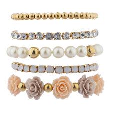 Lux Accessories Women's Arm Candy Bracelet Multi Style pearl Flower 5pc Set