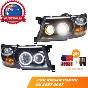 Headlights + Corner Lights For Nissan Patrol GU 1997-2007 LHS+RHS Black LED AU