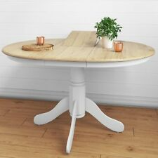 Rhode Island Solid Wood Extendable Round 6 Seater Dining Table in White/N RHD011