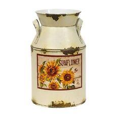 Cream Distressed Sunflower Milk Can