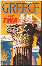 "Cool Retro Travel Poster CANVAS ART PRINT ~ Greece TWA Pillar 16""x12"""
