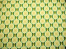 Cotton Fabric By The Yard Turquoise & Green Butterflies Ivory Quilting Treasures