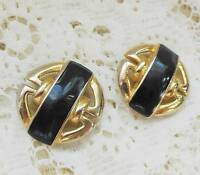 Vintage Black & Gold Tone Clip-On Earrings