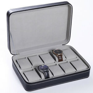 10 Slots Watch Travel Case Leather Display Organizer Box Leather Zipper Pouch