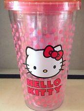 Hello Kitty Pink with polka dots tumbler, plastic, twist off top, no straw, EUC