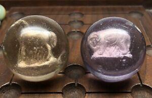Marbles: (2) Antique Handmade German Sulphide Marbles!!