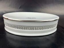 BELLA LUX Oval Soap Dish Bathroom Accessory White Rhinestones Crystal NWOB