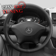 FOR MERCEDES SPRINTER MK1 95-05 GENUINE REAL BLACK LEATHER STEERING WHEEL COVER