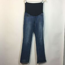 Liz Lange Maternity Jeans Size 4 BOOTCUT Full Panel Dark Wash Denim