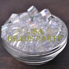 New 10pcs 10mm Cube Square Faceted Crystal Glass Loose Spacer Beads Clear AB