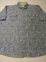 Roper Mens Paisley Pearl Snap Western Shirt Size 2XL XXL Blue Short Sleeve