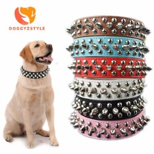 Pet Dog Rivet Collars PU Leather Round Bullet Nail Studded Necklace Spiked Strap