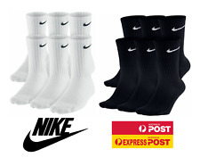 1 or 3 or 6 Pairs Nike Everyday Black Cushioned Crew Socks Mens 8-12 Women 10-13