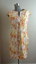 NWT Calvin Klein Women's Linen Blend Yellow Floral Sheath Dress Sz 4