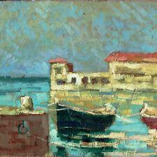 Barche a Livorno Dipinto olio cm 30 x 20 Gino Tassinari (Livorno 1920 2001)