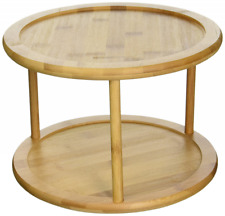 Lazy Susan Bamboo Turntable Kitchen Organizer Rack Spice Storage 10 Inch 2 Tier