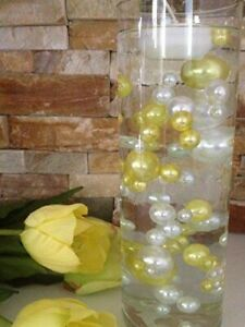 Yellow/White Pearls DIY Floating Pearls Decor 80pcs No Hole Pearls