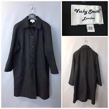 Vicky Smith London Donna Cappotto Nero UK 22 EUR 50