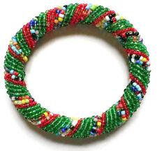 Bead Bracelet - Handmade African Kenyan Bangle Jewelry - Dark Green & Red Multi