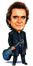 Johnny Cash Caricature Ring Of Fire 60's Country Music Sticker or Magnet