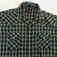 Plains Western Wear Men XLT Tall Brown  Plaid Pearl Snap Long Sleeve Shirt
