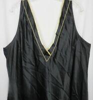 Vintage Jones New York 3X Black Slip Nightgown Knee Length V Neck New Old Stock