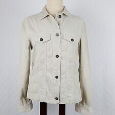 H&M LOGG Womens Corduroy Jean Jacket Ivory Cream 100% Cotton Size 8 Medium