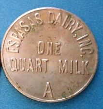 ESPASAS DAIRY tipo3 CUARTILLO 1 Quart milk token ficha Leche BAYAMON Puerto Rico