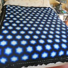 Handmade Crochet Afghan  Lace Blanket  Throw Twin Blue Black 73X76